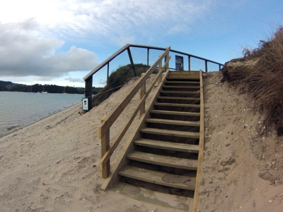 Walkers with dogs can climb the steps and remain outside the sensitive sanctuary