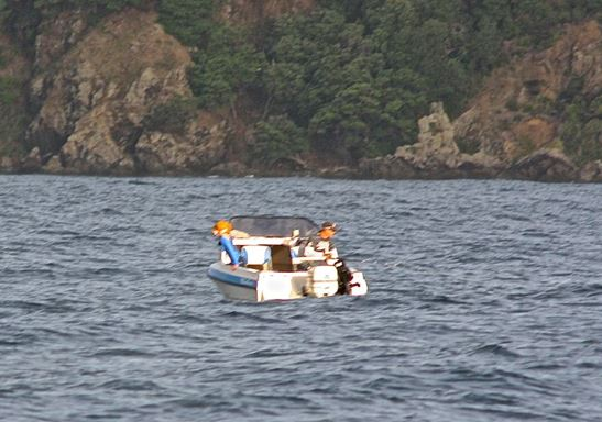 Figure 7.  The boat stopped and drifted again, and the skipper started fishing well inside the marine reserve.