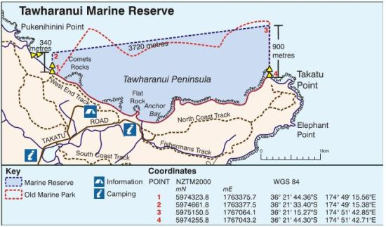 Figure 9.  Map of Tawharanui Marine Reserve, showing details of the boundaries and shore markers.