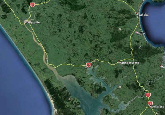 Google Earth image showing very muddy water in the Northern Wairoa River passing through Dargaville and discharging brown sediment into the otherwise relatively clean-looking Kaipara Harbour.  The ecological damage to the Kaipara from this chronic discharge must be huge.