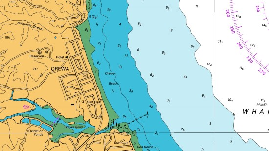 Part of hydrographic chart NZ 5321, showing the gently shelving seafloor off Orewa Beach and 10-metre depth contour between the pale blue and white areas, approximately 3 kilometres offshore.