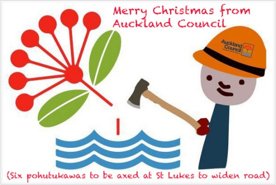 Merry Christmas from Auckland Council cutting pohutukawas