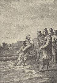 """Canute rebukes his courtiers"" by Alphonse-Marie-Adolphe de Neuville."