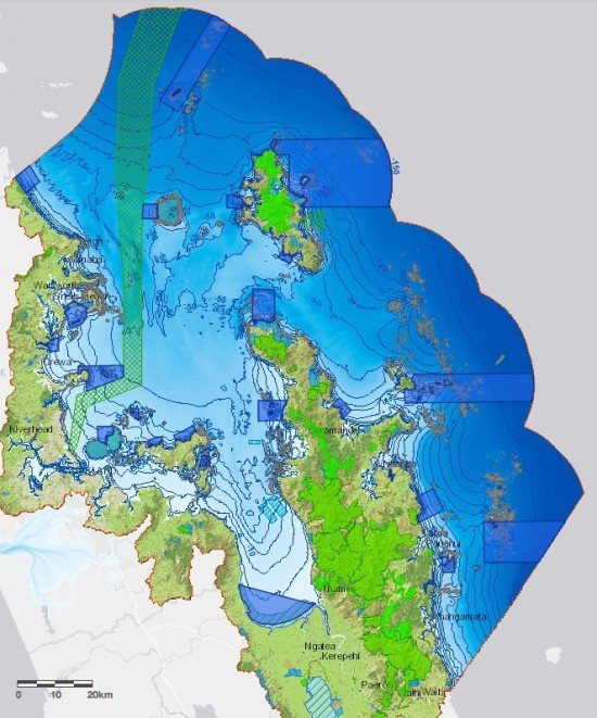 Draft Type 1 MPA network for the Hauraki Gulf Marine Park.