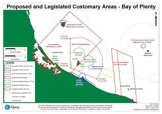 Figure 2: Map of Proposed Motiti Rohemoana, MFish, 2010