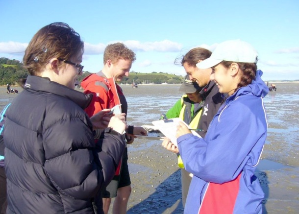 Students from Auckland University work with Dr. Karen Tricklebank on the survey.